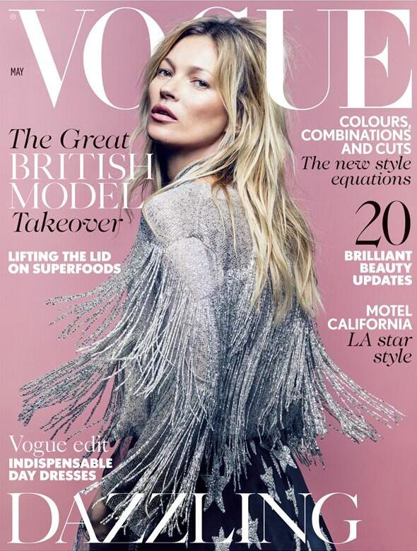 Kate Moss in einer Eigenkreation für Topshop auf dem Cover der Mai-Ausgabe der britischen Vogue