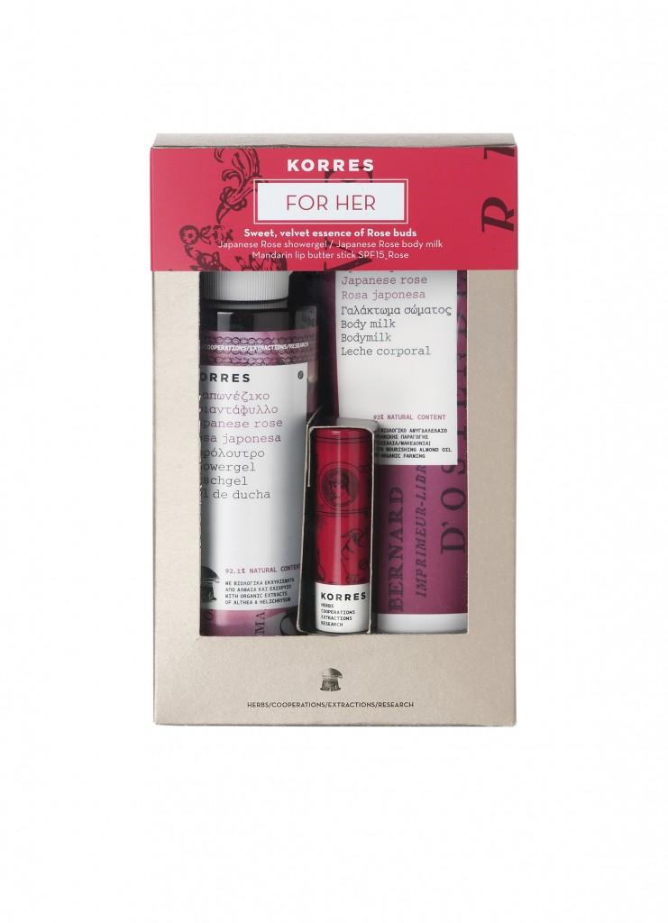 KORRES_FOR HER GIFT SET_JAPANESE ROSE SHOWER GEL_BODYMILK_MANDARIN LIP BUTTER STICK_300