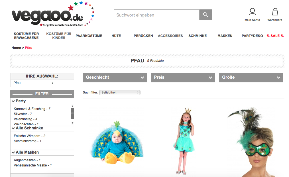 Screenshot vegaoo.de